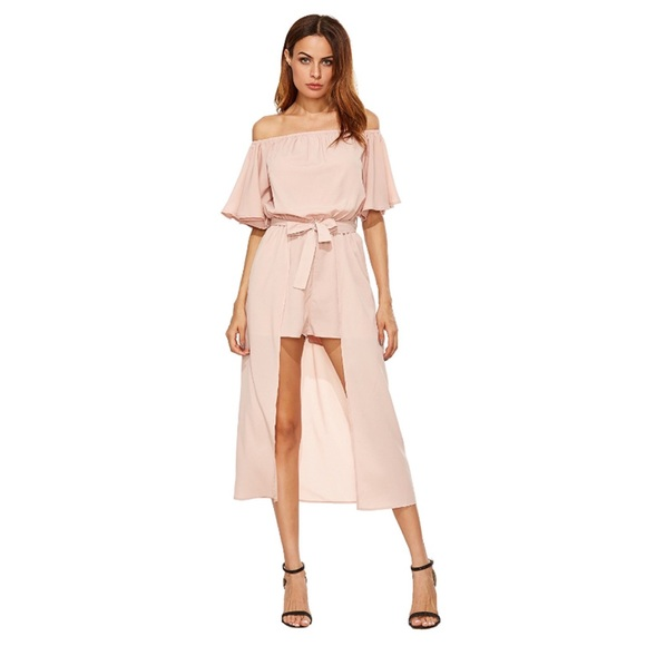 c8a7d259838 Off Shoulder Ruffled Half Sleeve Maxi Romper Blush